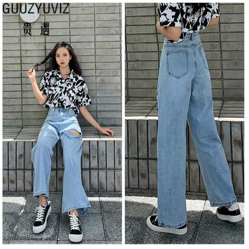 GUUZYUVIZ Wide Leg   Jeans   Woman High Waist Denim Pants Ladies Trousers Vintage Loose Casual Bell Bottom   Jeans   Vaqueros Mujer