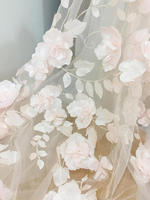 3D Full Blossom Flower Tulle Lace Fabric in Blush , Wedding Gown Bridal Dress Prom Dress Fabric by Yard