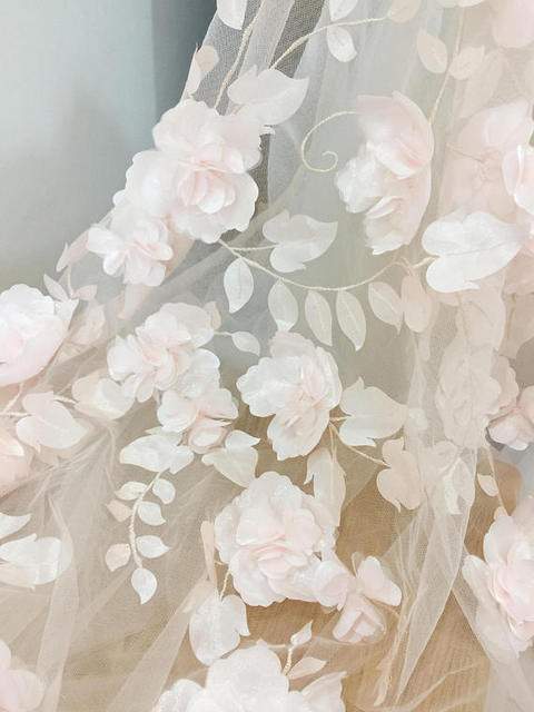 21b4963f4f9c8 3D Full Blossom Flower Tulle Lace Fabric in Blush , Wedding Gown Bridal  Dress Prom Dress
