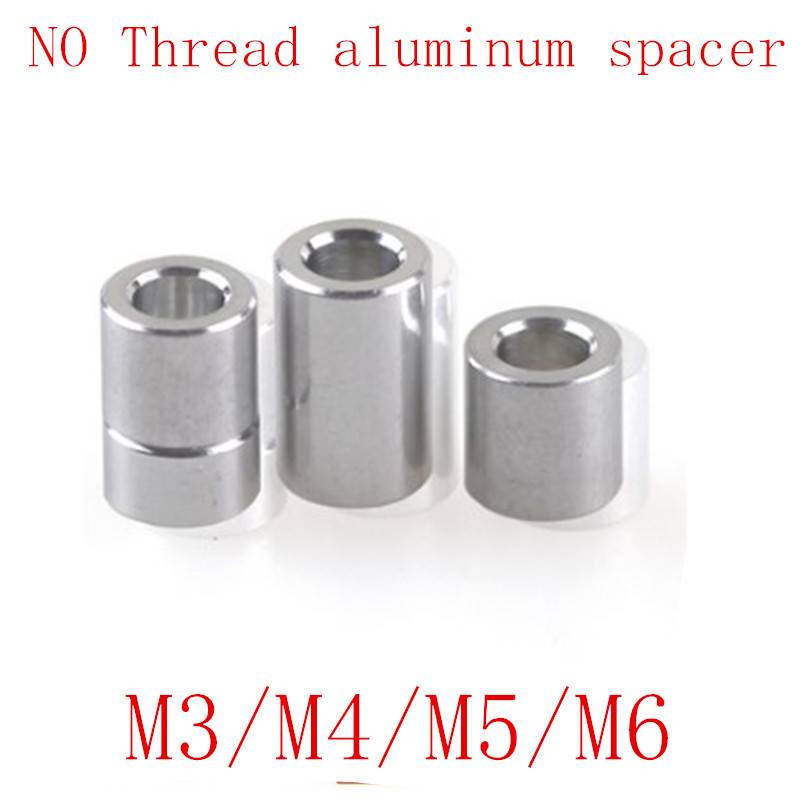 10-20pcs/lot M3 M4 M5 M6 Aluminum washer round hollow no thread standoff spacer thickness 2/3/4/5/6/8/10/12mm image