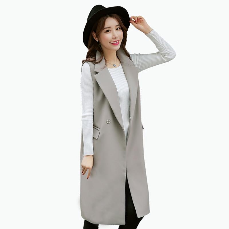 7dc1b0d5b Fashion OL Slim Long Vest Women 2017 New Spring Fashion Sleeveless ...