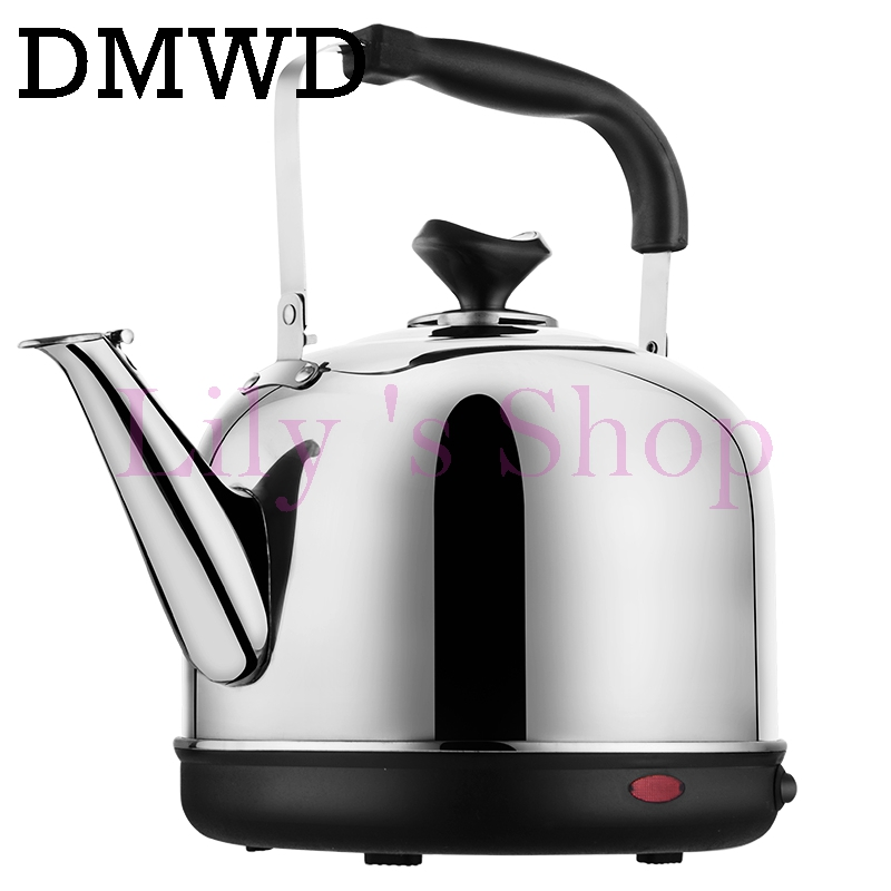 DMWD Electric kettle 4L Stainless Steel thermal insulation hot water heating quick Bolier Boiling pot Safety Auto-off teapot EU 220v 600w 1 2l portable multi cooker mini electric hot pot stainless steel inner electric cooker with steam lattice for students