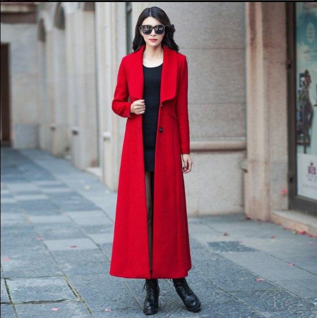 Mince Veste Rouge En Automne Super Boutonnage Nouvelles Laine Manteaux D'hiver Long Femmes Manteau Simple 2018 Épaissir Dames Outwear qzfg8Xw