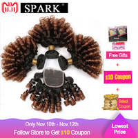 Spark 1B/4/30 or 1B/4/27 Ombre Brazilian Bouncy Curly Weave Human Hair Bundles with Lace Closure 4x4 Free Part Remy Hair Closure