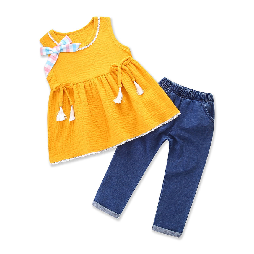 Toddler Girls Summer Clothing Set Sleeveless Tops+trousers Elastic Waist Pants 2pcs Baby Girl Suit Kids Casual Clothes Size 1-5Y