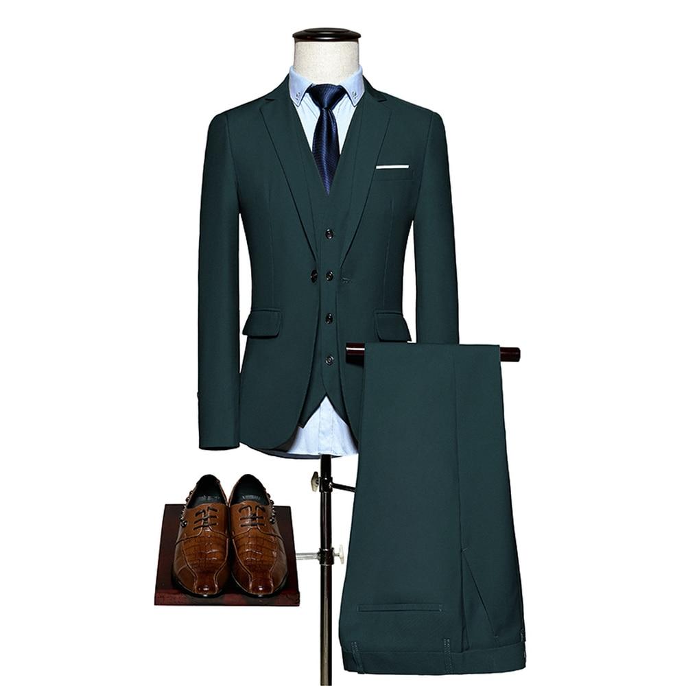 Suits Male 2018 Slim Fit 3 Piece Set (Jacket+Pants+Vest) Business Suits Groom Wedding Party Tuxedos New Mens Formal Wear
