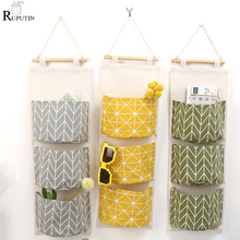 Купить с кэшбэком 3 Grids Home Wall Hanging Bag Sundries Organizer Storage Box Toys Pen Container Decor Pocket Door Pouch Bedroom Storage Pocket