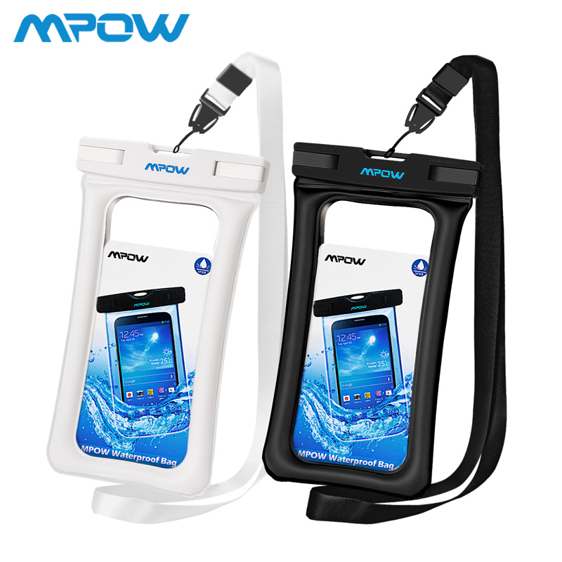 2pcs Mpow IPX8 Waterproof Pouch Universal For iPhone Xs Max Smartphones Up tp 6.5inch Floatable Phone Case Bag Black/White/Pink