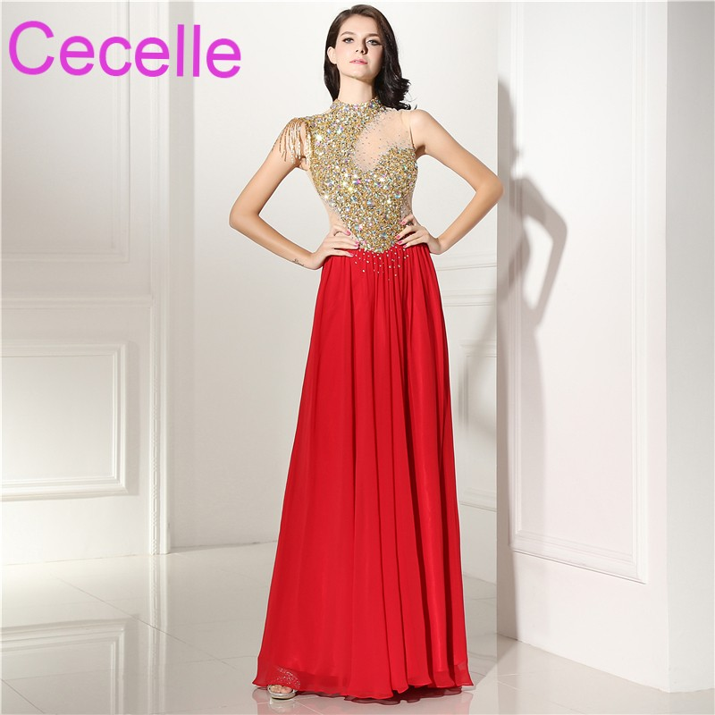 Red Gold Long Prom Dresses 2019 Fully Beaded Top Sexy