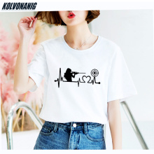 KOLVONANIG 2019 Summer New Interesting Gun Girl Heartbeat Love Target-Shooting Print T Shirt Women Cotton Big Size T-shirts Tops