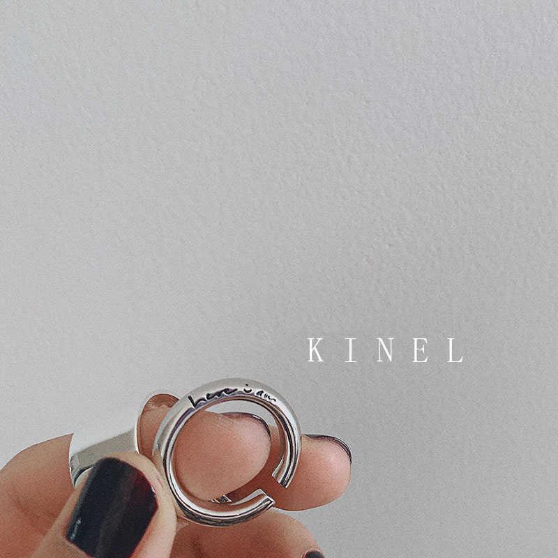 Kinel S925 เงินสเตอร์ลิง Chic ภาษาอังกฤษโลโก้หนาแหวน Minimalist กว้าง Glossy เปิดแหวนหางร่วมเครื่องประดับโบราณ 2019 ใหม่