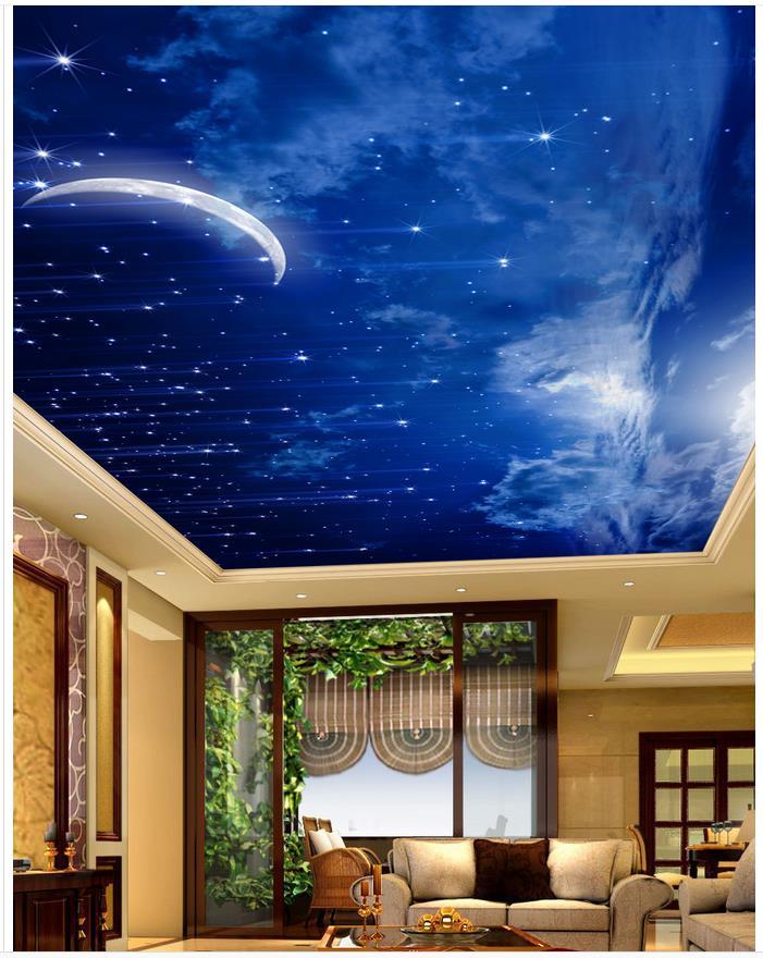 beautiful moon night sky ceiling landscape wallpaper murals ceilings 3d mural paintings in. Black Bedroom Furniture Sets. Home Design Ideas