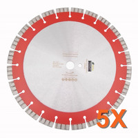 DIATOOL 5pcs 358MM Professional Laser welded Segmented Diamond Blade Turbo Cutting Disc 14 Saw Blade For Reinforced concrete