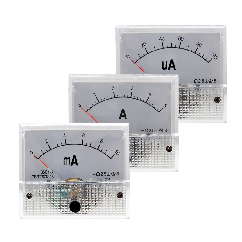 85C1 Ammeter Dc Analog Current Meter Panel Mechanical Pointer Type  1/5/10/20/30/50/100/200/300/500mA A