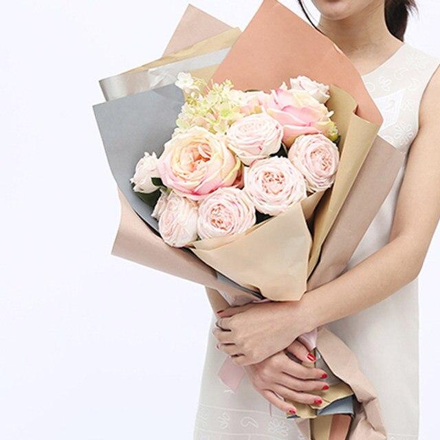 10 Pieces Double Color Kraft Paper Flower Packing Diy Flower Bouquet Package Paper Flower Shop Supplies Package Wedding Decor