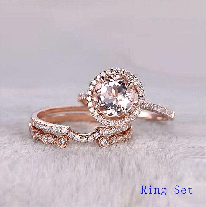 Женские Блестящие Обручальные кольца с камнями QYI, розовое золото 10 к