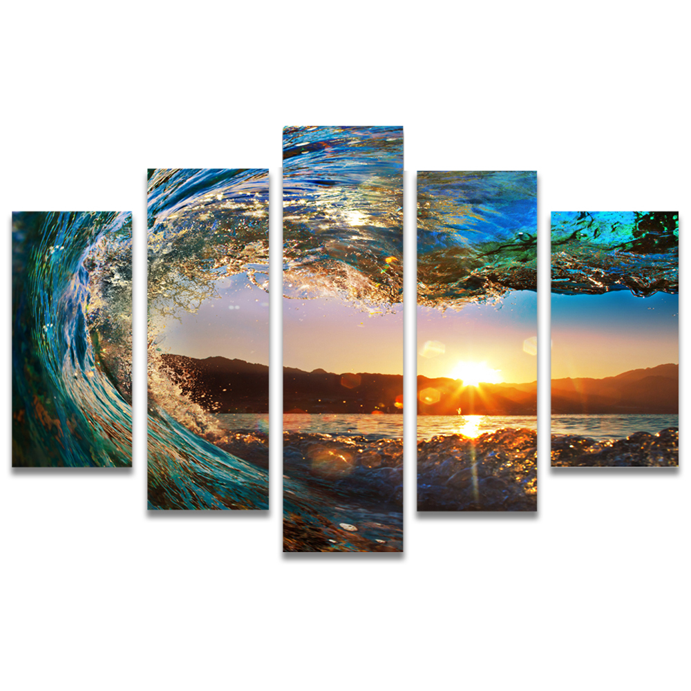 Unframed Canvas Painting Waves Sunset Photo Picture Prints Wall Picture For Living Room Wall Art Decoration Dropshipping