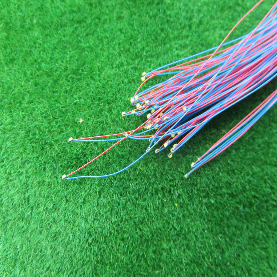 0402 SMD red yellow blue green model train HO N OO scale Pre-soldered micro litz wired LED leads wires 20cm