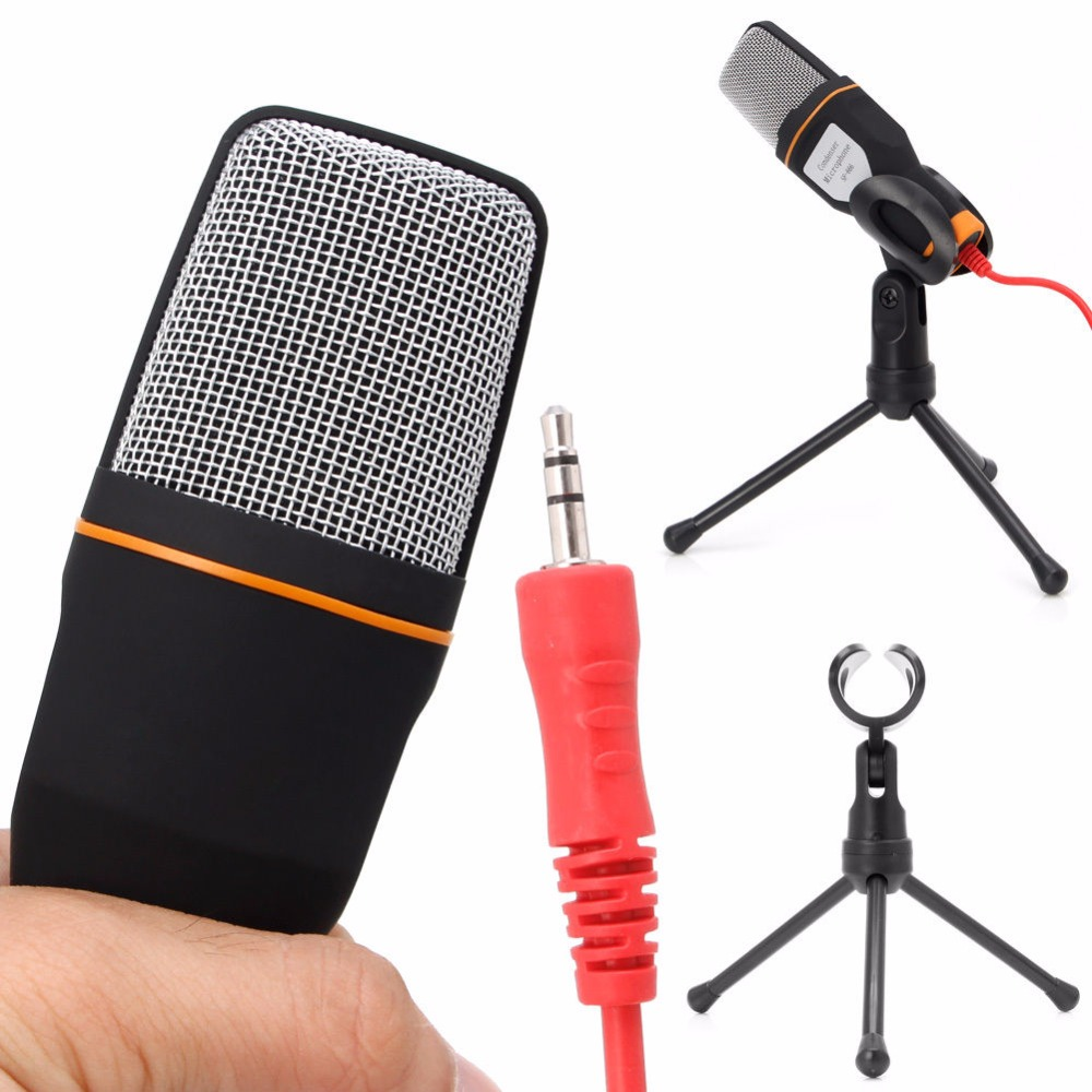 OOTDTY Mini Mikrofon Mikrofon Microphone Studio+Desktop Stand + USB Cable For PC Laptop