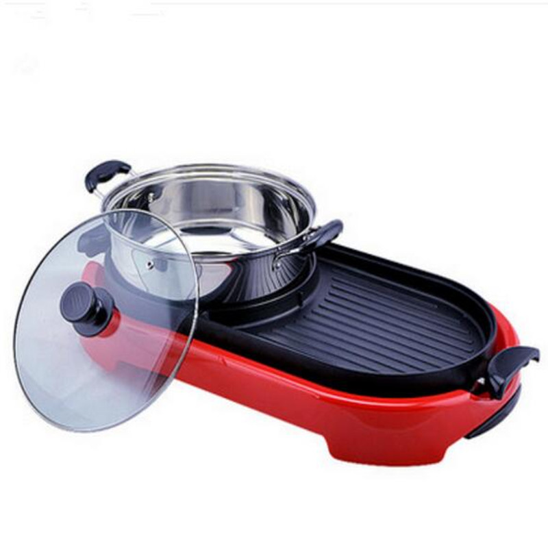 220V Multifunctional Non-stick Electric Barbecue Grill Machine Korean Hot Pot Smokeless Portable Pan For Family Outdoor Party edtid multifunctional electric cooker mini heat pan students hot pot without oil fume nonstick frying pan special offer