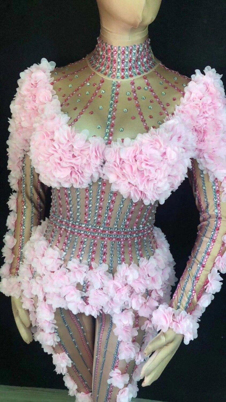 Performance Élastique Salopette Bar De Chanteur Cristaux Adulte Dj Body Fleurs Costume Vêtements Danse Skinny Discothèque Fink Femelle PiwZuTOXk