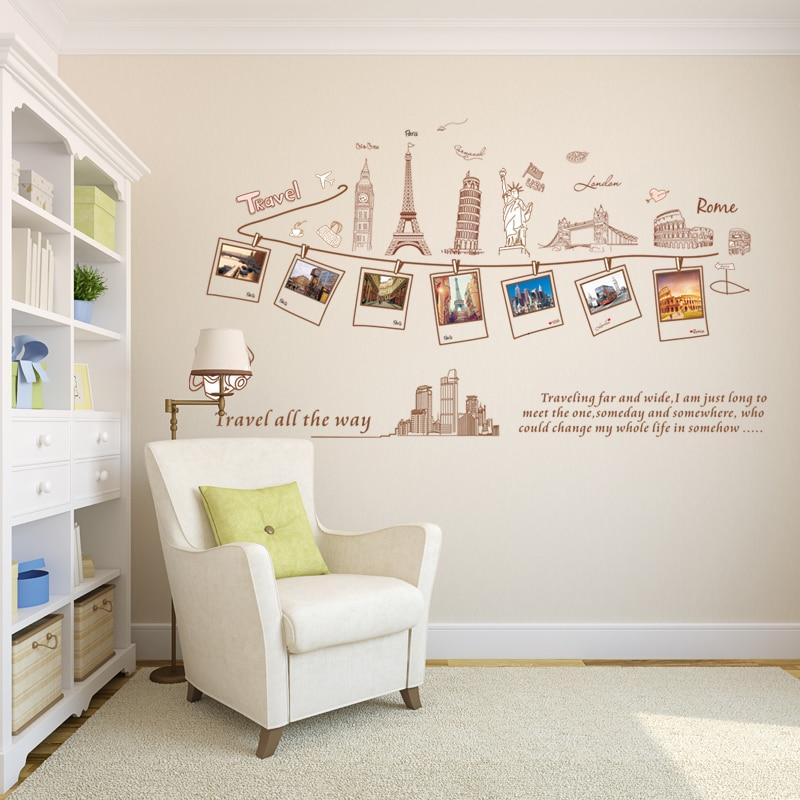 Большой Размеры настенные наклейки креативные Комбинации World Travel Наклейки на стену для украшения дома ay9011