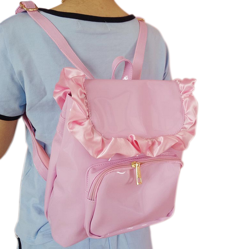 Fashion Korean Women Backpack Leather Solid Color Floral Edge Bags Casual Lady Girl School Shoulde Bag Big Capacity WML9