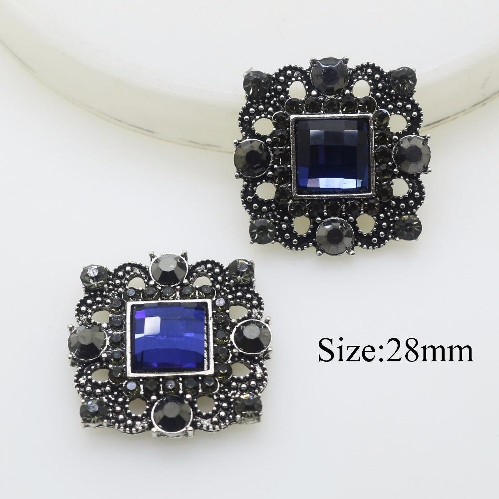 YIWUXINXI набор из 10 штук, 28 мм, кнопка из Королевского синего кристалла, свадебные стразы, аксессуары для творчества