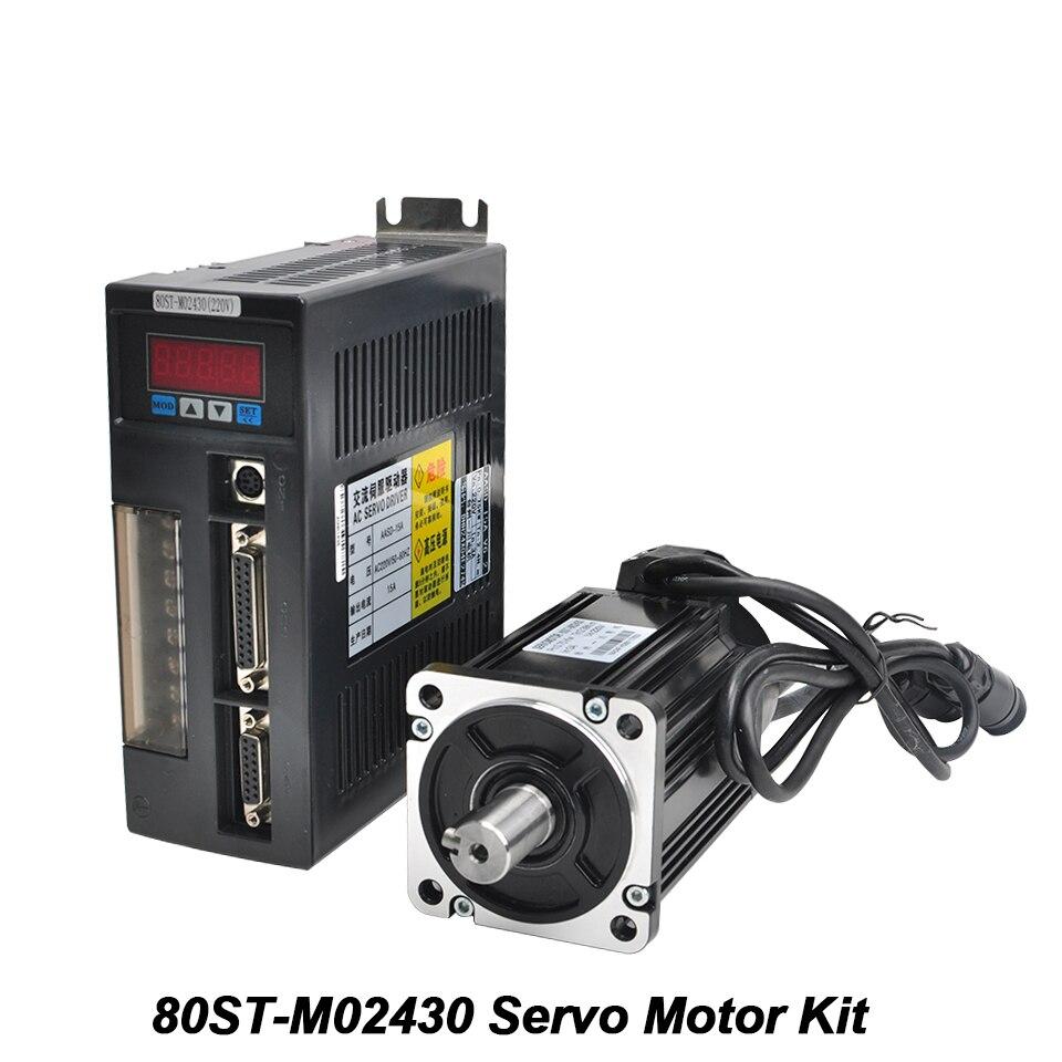 AC Servo Motor Kit 80ST-M02430 Servo Motor Monofásico 220 v 2.39N.m CNC Motor Combinado Unidade Permanente Unidade Com Cabo