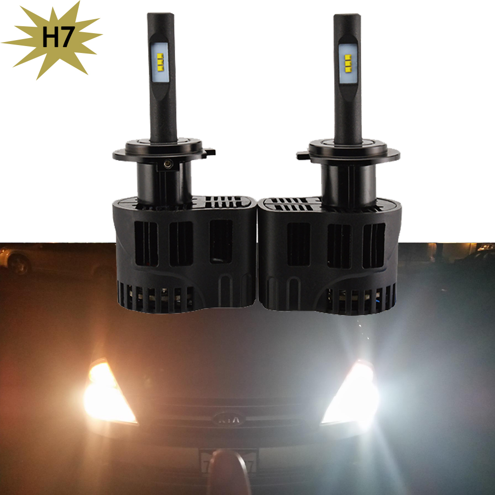 Pack of 2 H7 Car LED Headlight Bulbs 50W 6400LM Lumiled ZES Fog Front Light 12V All in one Replace Hid Xenon Halogen bulbs 5 pack of disposable lighters pack of 3 sets