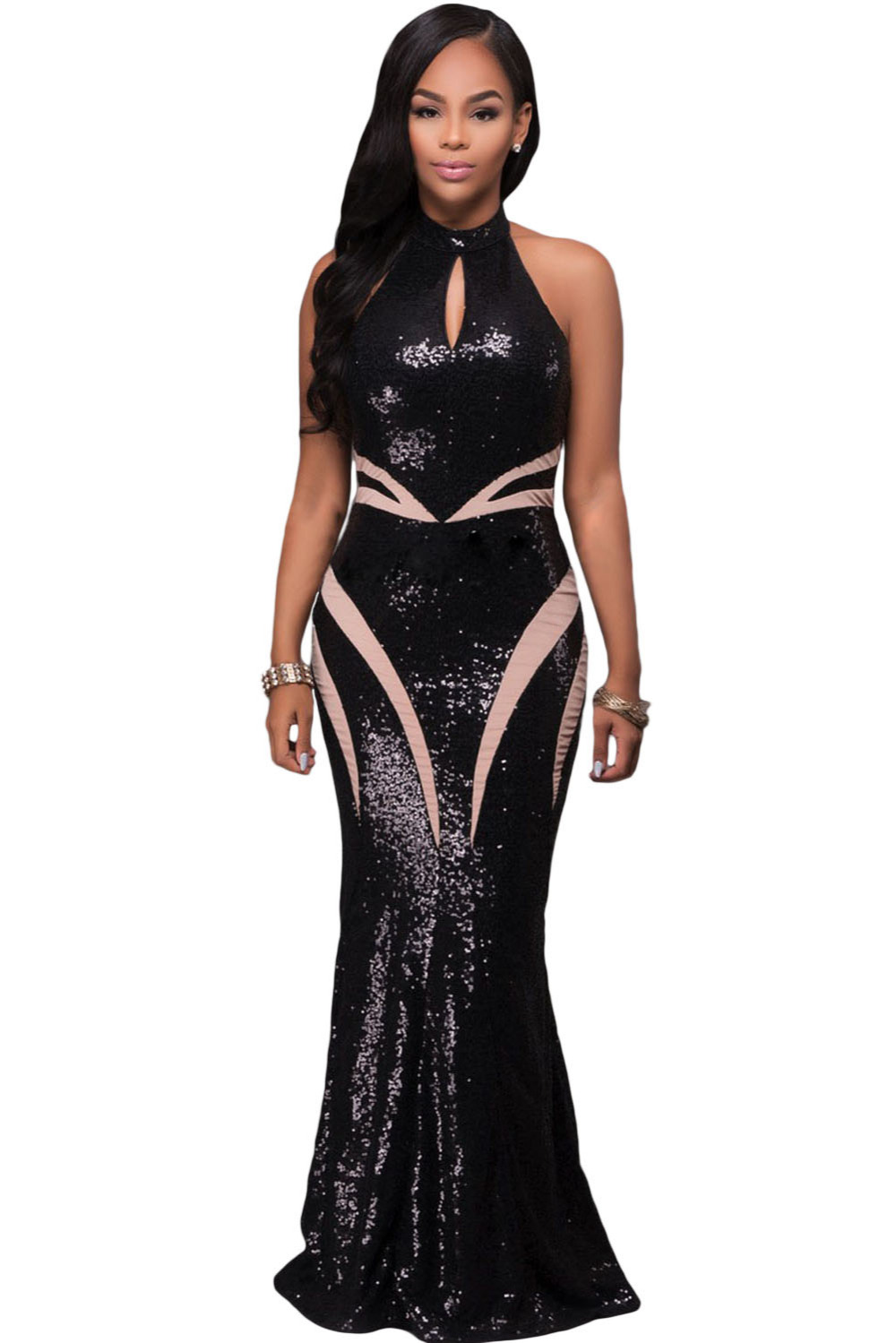 Black dress for prom night - New Women Elegant Sexy Stretch Bodycon Prom Cocktail Graduation Night Gown Black High Neck Keyhole Sequin Long Party Dress 61414