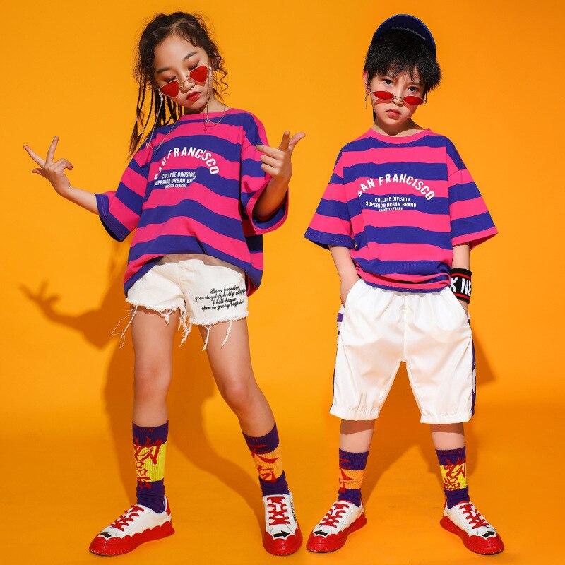 Kids Ballroom Dancing Costumes For Girls Boys Jazz Hip Hop Dance Clothes Short Sleeve T Shirt Tops Jogger Short Pants Dancewear