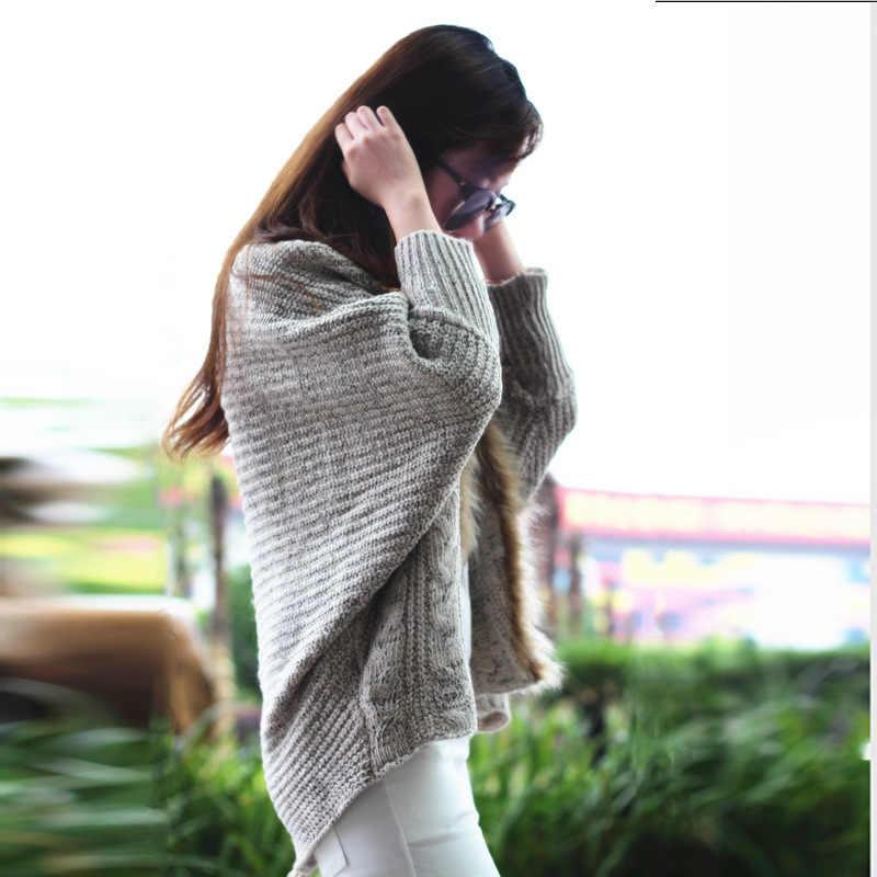 Свитера женские модные 2019 новые осенние зимние большие размеры Женская набивной рукав/вязаная кофта с меховым воротником свободный свитер vestidos LXJ313