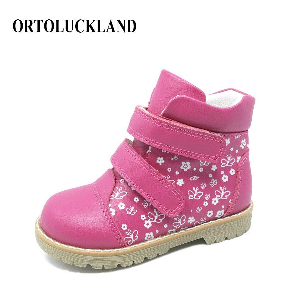 Mode printemps automne enfants décontracté chaussures orthopédiques enfants papillon impression chaussures en cuir filles bambin chaussures de sport
