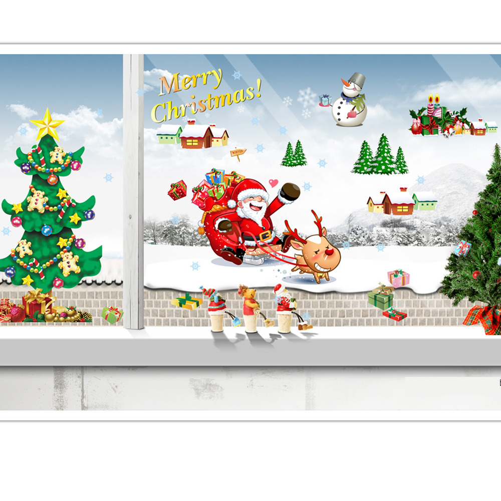 Us 3 51 20 Off Candiway Merry Christmas Living Room 50 70cm Kids Bedroom Wall Decorations Glass Home Decorating Wall Art Wall Sticker Ne113b In