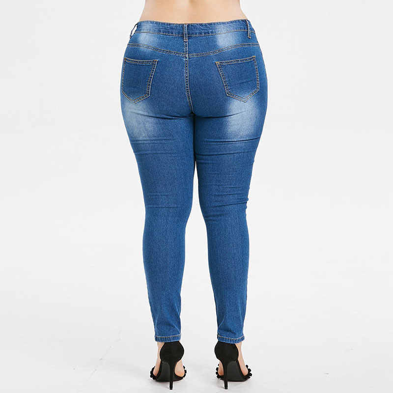 HEE GRAND женские джинсы 2018 плюс размер 2XL вышивка джинсовые узкие брюки Стрейчевые с посадкой на талии обтягивающие потертые рваные брюки WKN615