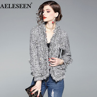 AELESEEN 2018 Fashion Autumn Winter Women Blazers And Jackets Work Office Lady Suit Slim Tassel Business Beading Blazer Coat
