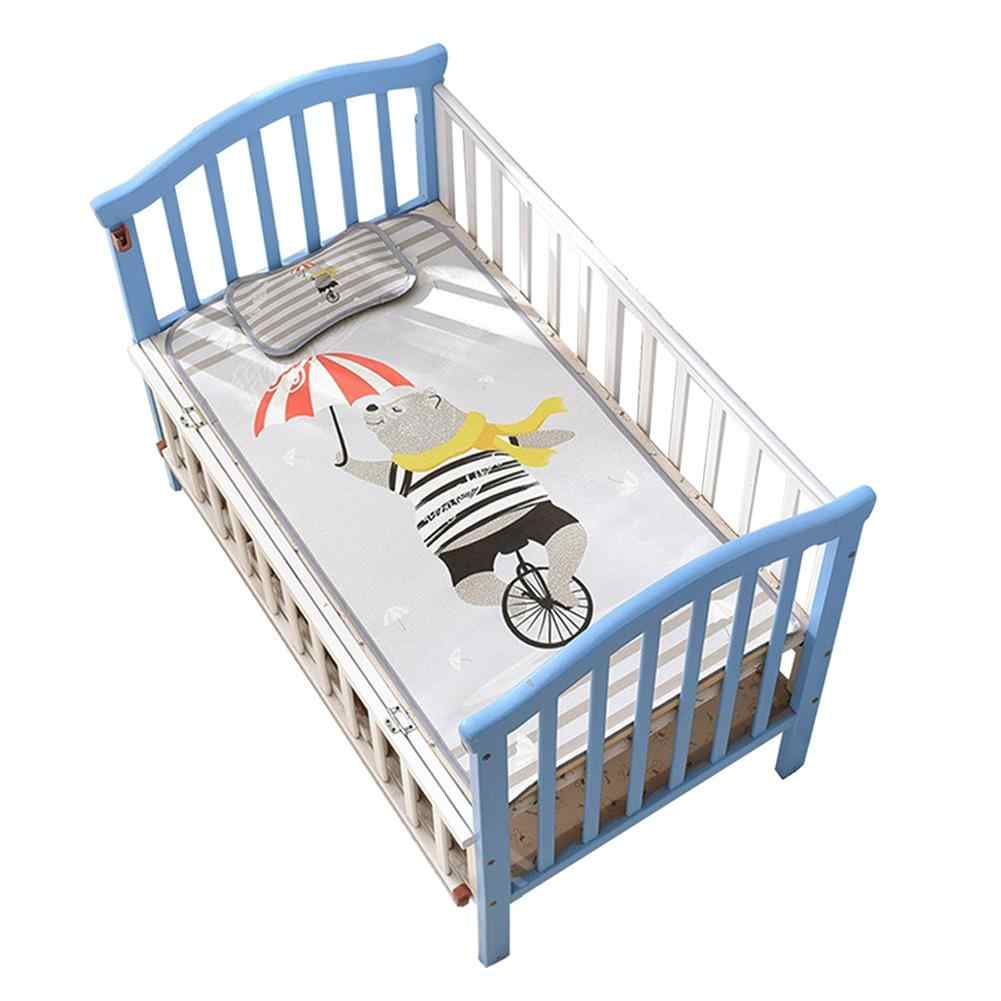 Materac dla niemowląt Cartoon składana mata chłodząca lodowy jedwab mata z zestaw poduszek klimatyzacja materace do spania