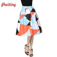 Peritiny Fashion Colorful Women S Clothing High Waist Floral Print Plaid Skirts Vintage Saia Feminina Midi
