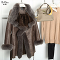 Winter Long Double-faced Fur Coats Women Real Lamb Fur The Coat Genuine Sheepskin Jacket Natural Fox Fur Collar 20141211-1X