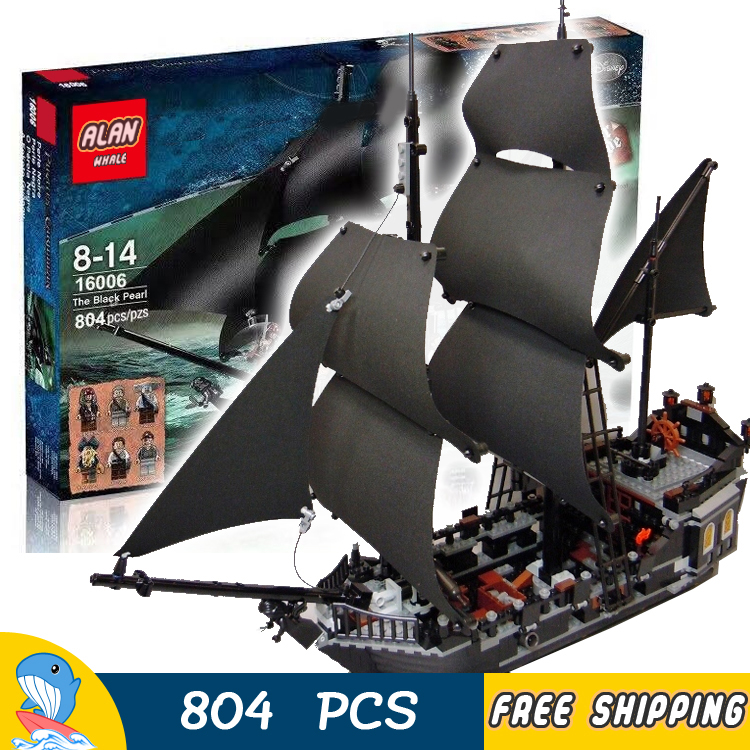 804pcs 16006 Pirate Series Pirates of the Caribbean Black Pearl Model Building Blocks Sets Toys Compatible With lego bmbe табурет pirate