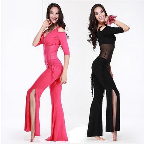 HOT SALE Haft ujjú V-nyakú hasi tánc jelmez 3db felső nadrág és csípő sál a nők hasi tánc ruha 5colors M L XL