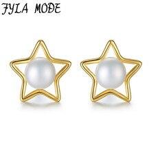Fyla Mode Gold Color Star Earring Pearl Pendant 925 Sterling Silver Needle Jewelry Elegant Women Stud Earrings Gifts ZLX051