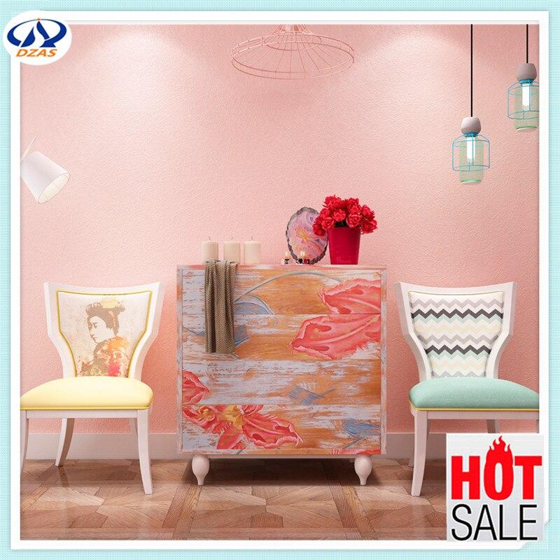 Free shipping Light yellow color silk non woven wallpaper plain gray ...