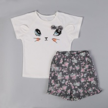 Summer Casual Children's Clothes Girls Bow Cat Short Sleeve T shirt Tops+ Floral Shorts Suit Kids Girl Costume