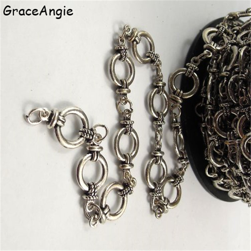 1Meter Bohemia Antique Bronze Silver Chain For Bracelet Handmade Tone Jewelry Chains Necklace Chain Necklaces Women Vintage DIY
