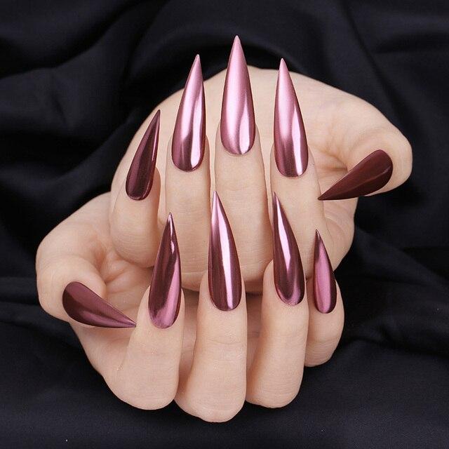Polvo del espejo del diario de la historieta de la manicura del brillo de las uñas del oro rosa del polvo del brillo del pigmento cromado