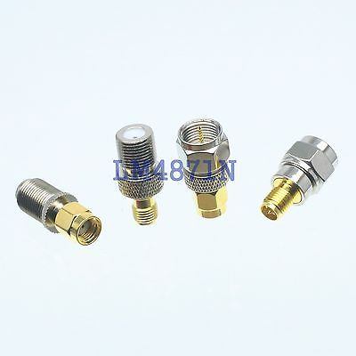 Kit Adapter 4pcs/set RP.SMA to F type male female RF connector Test converter kit adapter 4pcs set mini uhf to sma male female rf connector test converter