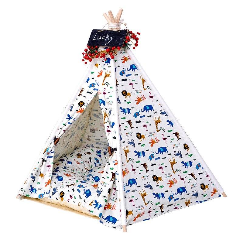New Elegant Pet <font><b>Tent</b></font> Dog bed Cat house Dog Mat For Small dog puppy Kennel 100% cotton canvas Cat nest cushion pet Mat