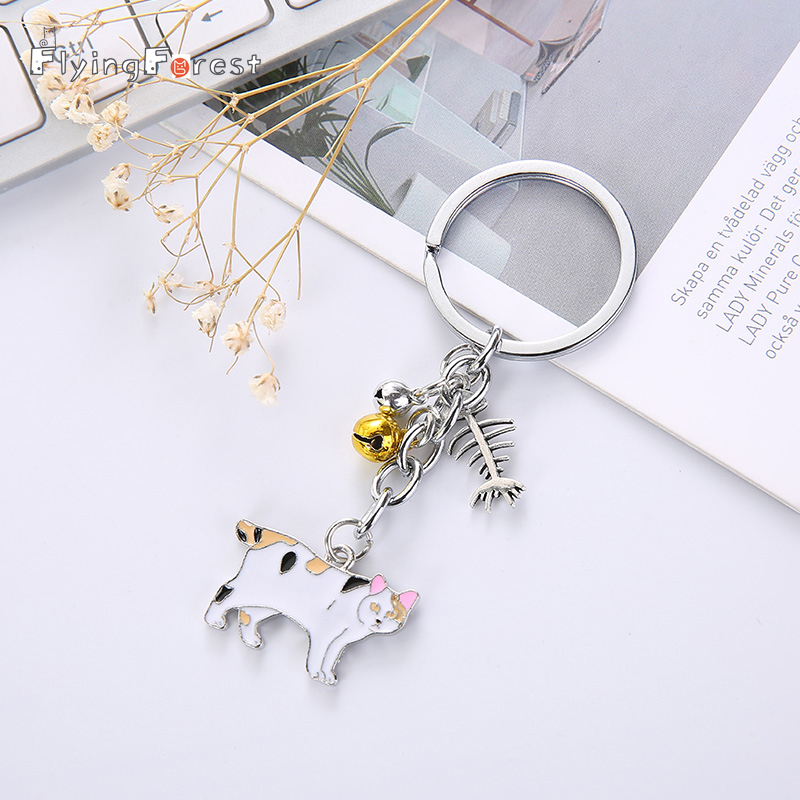 Flyingforest Cute Cat Fashion Couple Keychain Animal Metal Dating